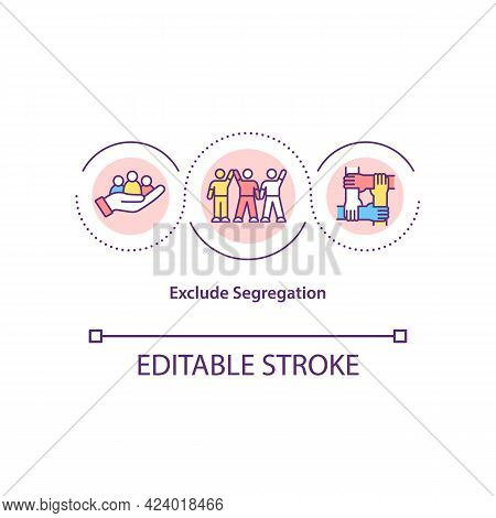 Exclude Segregation Concept Icon. Anti Racist People Movement. Inequality In Social Life Abstract Id