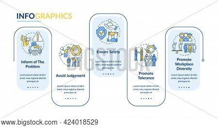 Racism In Workplace Vector Infographic Template. Avoid Judgement Presentation Outline Design Element