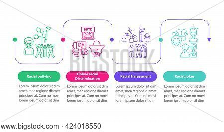 Ethnic Inequality Vector Infographic Template. Racial Bullying Presentation Outline Design Elements.
