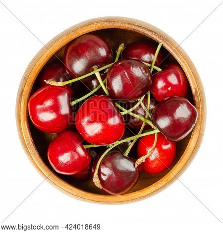 Fresh Cherries, In A Wooden Bowl, Ready To Eat. Red And Ripe Fruits Of The True Cherry Species Prunu