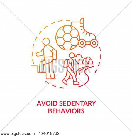 Avoid Sedentary Behaviors Concept Icon. Lazy Lifestyle Changing. Being More Active During Day. Healt