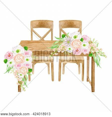 Watercolor Wood Wedding Table With Flower Bouquets Decoration Isolated On White. Hand Painted Sweeth