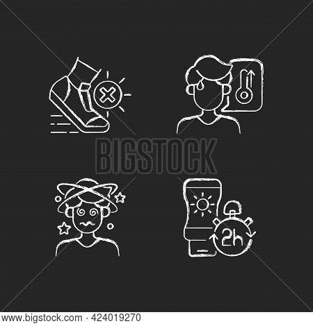 Heatstroke Prevention Chalk White Icons Set On Dark Background. Avoid Exercising During Summer Heatw