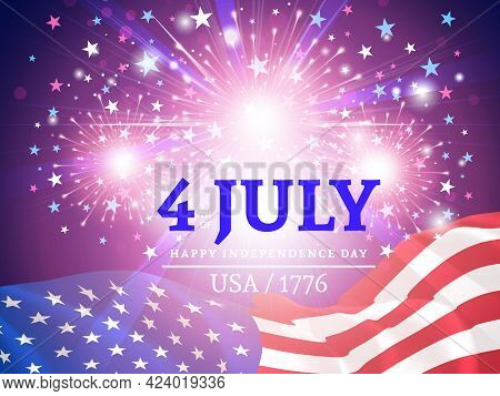 Independence Day, Fourth Of July Or July 4. Greeting Card With Usa Flag And Fireworks. Us Federal Ho