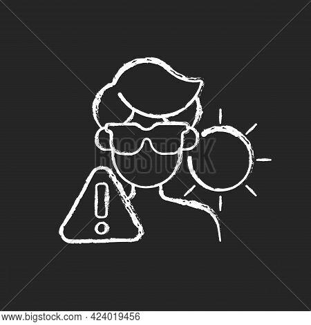 Overexposure To Sun Chalk White Icon On Dark Background. Person In Sunglasses On Beach Risking Sunst