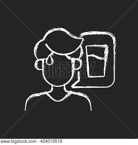 Thirst Chalk White Icon On Dark Background. Dehydration Symptom During Heat Wave. Sign Of Heatstroke