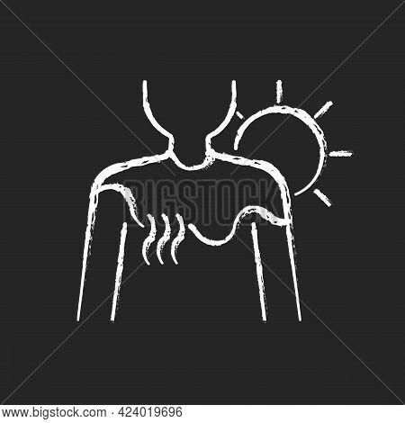 Sunburn Chalk White Icon On Dark Background. Person Under Sunlight Exposure. Inflammation During Sum