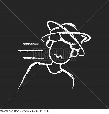 Fainting Chalk White Icon On Dark Background. Man Losing Consciousness From Sunstroke. Head Spinning