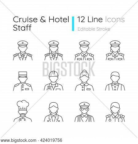Cruise And Hotel Staff Linear Icons Set. Comfortable Vacation. Proffesional Crew Controlling. Custom