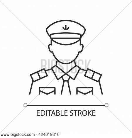 Male Chief Officer Linear Icon. Controlling Crew. Cruise Travel For Visitors. Thin Line Customizable
