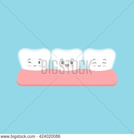 Invisible Braces On Tooth With Face Character.