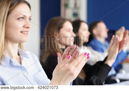 Business People Clapping And Applause At Meeting Or Conference