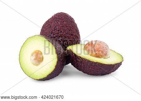 Fresh Avocado Isolated On White Background. Avocado Clipping Path. Fresh Organic Avocado. Full Depth