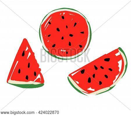 Hand Drawn Watermelon Set, Vector Illustration Watermelon Sketch