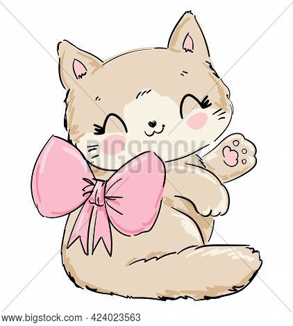Cute Cat With Bow Vector, Print Design Kitty, Children Print On T-shirt.