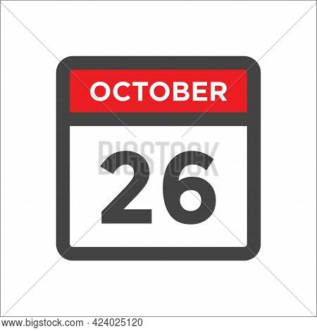 October 26 Calendar Icon - Day Of Month