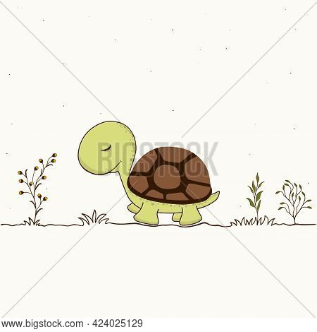 Decorative Pattern With Cute Turtle Cartoon On White Background. Animal Vector Design.