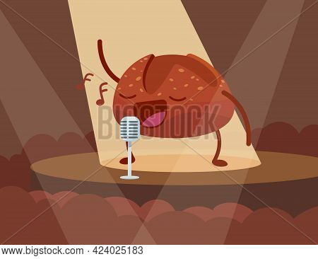 Cute Bun Character Singing Into Microphone On Stage. Bread With Eyes And Mouth Performing For Audien