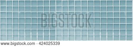 Panorama Of Blue Translucent Glass Block Wall Pattern And Background Seamless