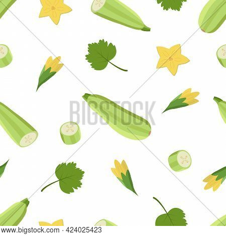Seamless Pattern Zucchini Whole And Cut, Zucchini Flowers And Leaf. Vector Illustration Of Vegetable