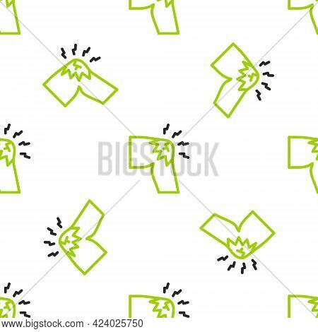 Line Joint Pain, Knee Pain Icon Isolated Seamless Pattern On White Background. Orthopedic Medical. D