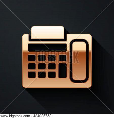 Gold Telephone Icon Isolated On Black Background. Landline Phone. Long Shadow Style. Vector Illustra
