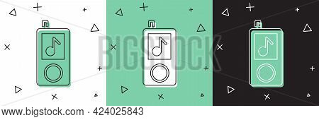 Set Music Player Icon Isolated On White And Green, Black Background. Portable Music Device. Vector I