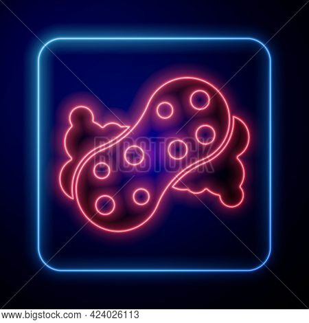 Glowing Neon Sponge With Bubbles Icon Isolated On Blue Background. Wisp Of Bast For Washing Dishes.