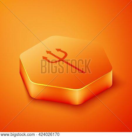 Isometric Neptune Trident Icon Isolated On Orange Background. Happy Halloween Party. Orange Hexagon