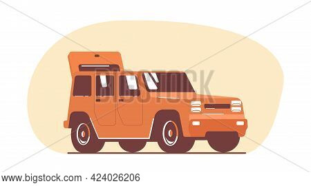 Suv Car With Open Boot. Vector Flat Style Illustration.