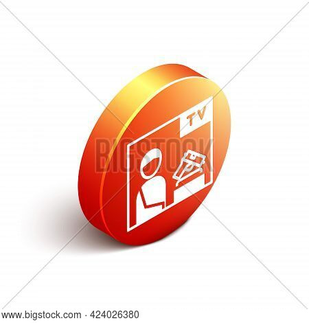 Isometric Television Advertising Weapon Icon Isolated On White Background. Police Or Military Handgu