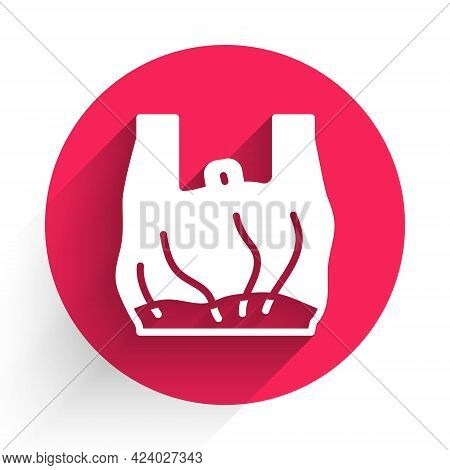 White Say No To Plastic Bags Poster Icon Isolated With Long Shadow. Disposable Cellophane And Polyth