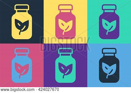 Pop Art Fertilizer Bottle Icon Isolated On Color Background. Vector