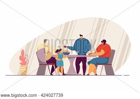 Family Drinking Tea Together Flat Vector Illustration. Mother, Father, Grandfather And Kid Eating Co