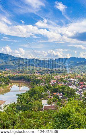 Luang Prabang City In Laos Landscape Panorama With Mekong River.