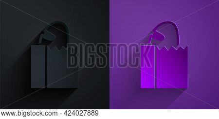 Paper Cut Paper Bag With Bread Loaf Icon Isolated On Black On Purple Background. Paper Art Style. Ve