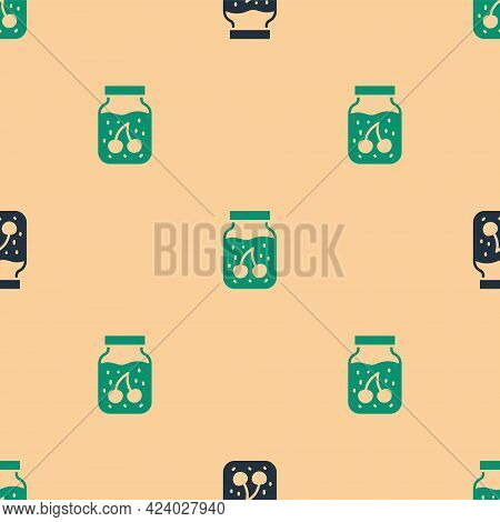 Green And Black Jam Jar Icon Isolated Seamless Pattern On Beige Background. Vector