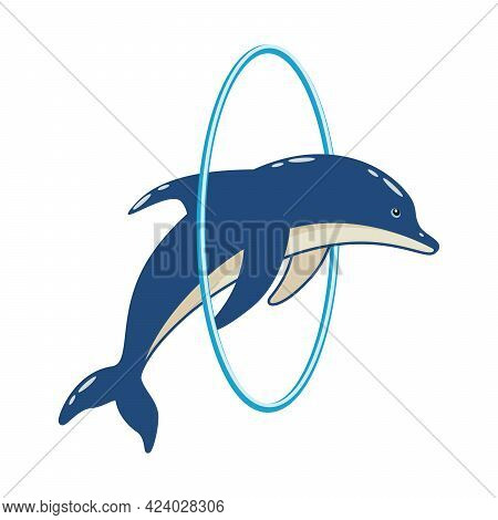 Cartoon Cute Dolphin Jumps Through The Hoop In The Dolphinarium. Vector Illustration Of A Trained Se