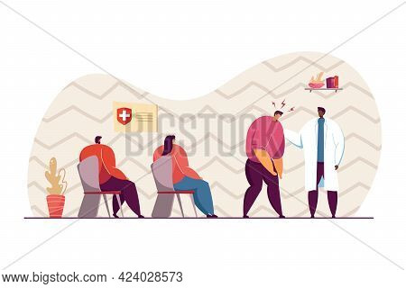 Male Patient With Headache Going To Doctor. Patients Waiting For Their Turn To See Doctor In Hall Fl
