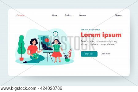 Happy Mother And Cute Daughter Painting Together Flat Vector Illustration. Cartoon Mom And Kid Drawi