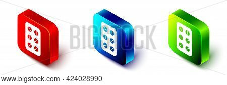 Isometric Pills In Blister Pack Icon Isolated On White Background. Medical Drug Package For Tablet,