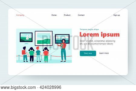 Children Visiting Museum Excursion, Standing At Picture And Listening To Guide. Vector Illustration