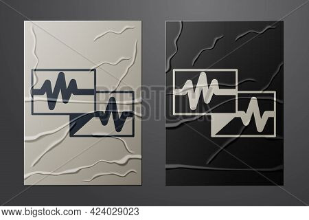 White Computer Monitor With Cardiogram Icon Isolated On Crumpled Paper Background. Monitoring Icon.