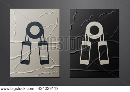 White Sport Expander Icon Isolated On Crumpled Paper Background. Sport Equipment. Paper Art Style. V