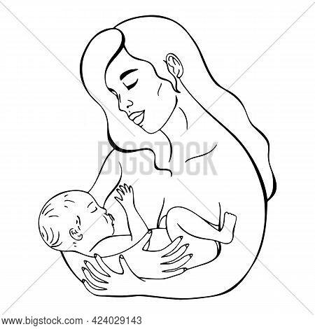 Vector Illustration Of A Nursing Woman, Breastfeeding, Line Art Illustration