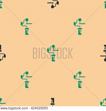 Green And Black Gimbal Stabilizer For Camera Icon Isolated Seamless Pattern On Beige Background. Vec