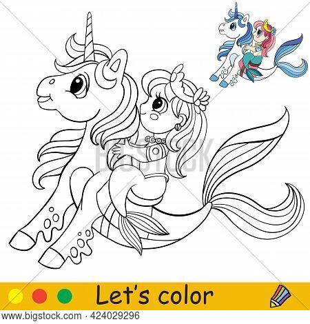 Coloring Cartoon Cute Mermaid Riding A Sea Unicorn