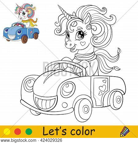 Cartoon Unicorn With A Scarf Drive A Car Coloring