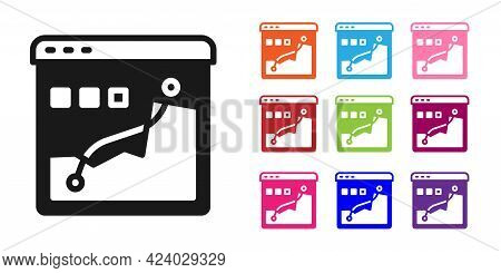 Black Histogram Graph Photography Icon Isolated On White Background. Set Icons Colorful. Vector