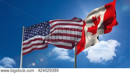 American and canadian flag waving against clouds in blue sky. international relations and affairs concept